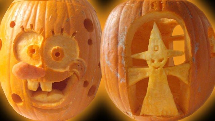 zwei Kürbisse mit Gesichter von Sponge Bob und eine Hexe - Halloween Kürbisse