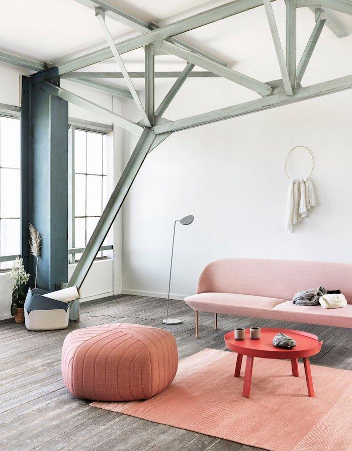 pouf füllung idee dezent rustikale wohnung architektur feine möbel dezent pfirschefarbe sofa