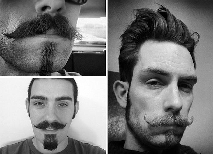Chin Puff mit Schnurrbart, Fotocollage in Schwarz-Weiß, drei junge Männer