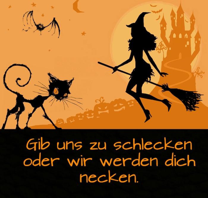 noch ein schönes bild mit einer fliegenden schwarzen hexe, einem schloss, einer großen schwarzen katze, fliegenden fledermäusen, einem mond, halloween kürbissen und einem spruch