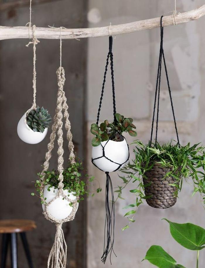 hängeampel selber machen blumentöpfe vier hängende stücke grüne deko ideen pflanzen