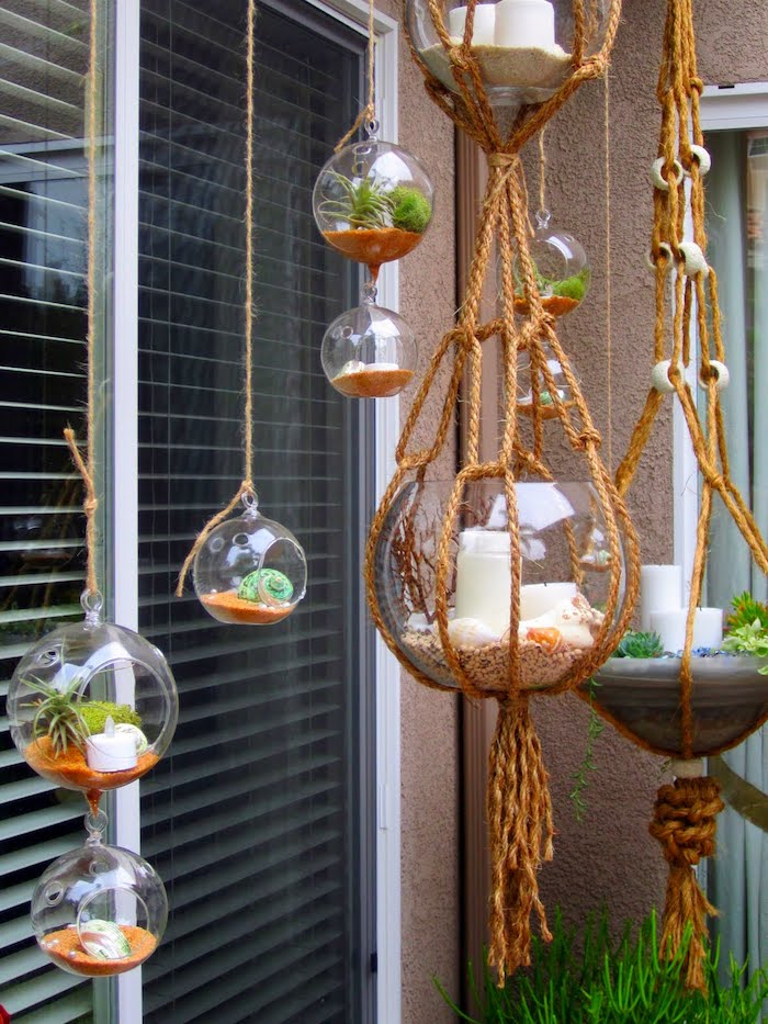 makramee garn selber machen bildschöne idee gläser mit kerzen sand und pflanzen hängen lassen dekorative ideen