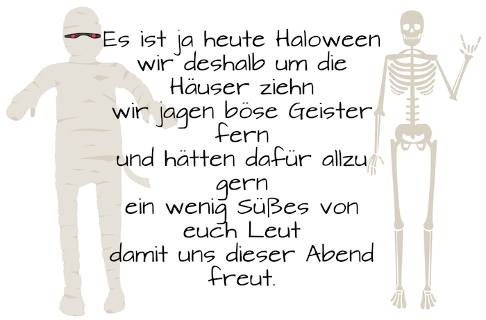 hier finden sie ein schönes halloween bild mit einem tollen halloween spruch und einer weißen mumie