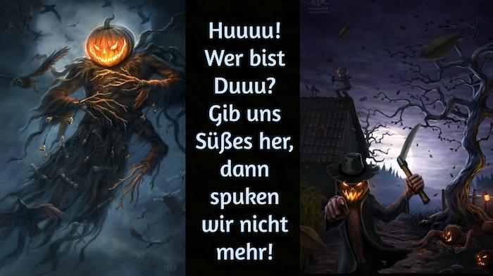 werfen sie einen blick auf diese zwei bilder mit halloween monstern mit kürbissen und mit schwarzen fliegenden vögeln und mit schwarzen bäumen