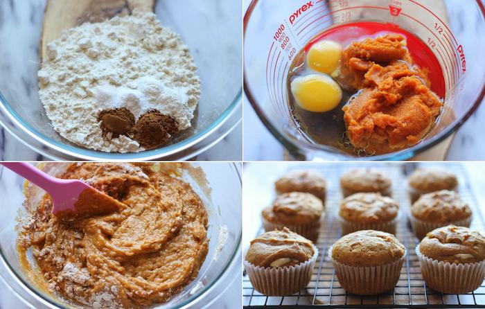 rezepte für halloween, dessert mit kürbispüree, eier, mehl und zimt