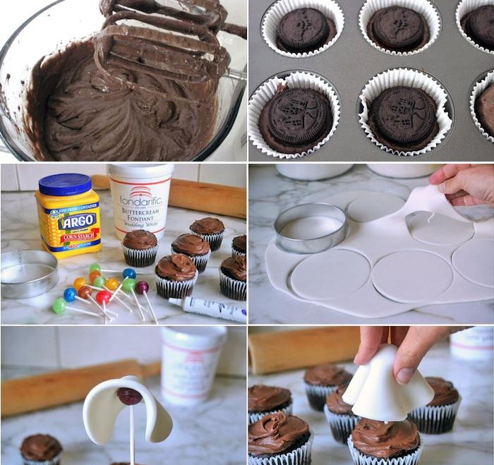 rezepte für halloween, cupcakes mit oreo-keksen und schokolade