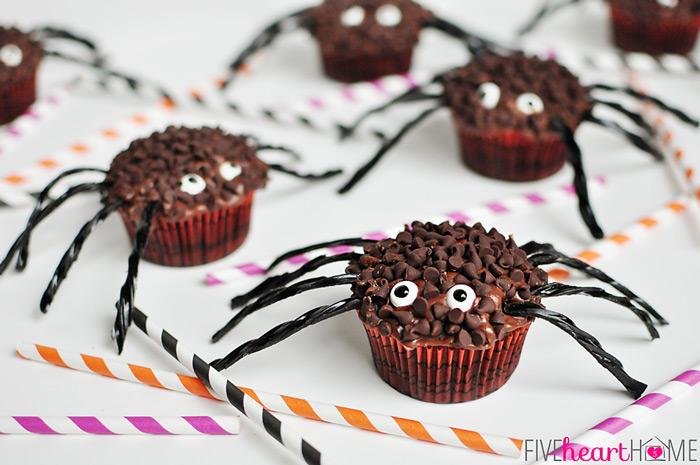 rezepte halloween, cupcakes-spinnen selber machen, cupcakes dekorieren