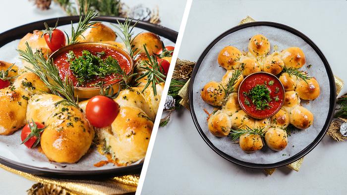 Brötchenkranz mit Babymozzarella, Fingerfood für Weihnachten, mit frischem Rosmarin und Tomatendip servieren