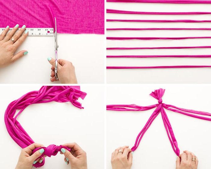 rosa makramee blumenampel selber machen aus stoff ausschneiden schere verflechten und gestalten