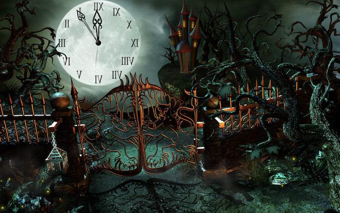 der Mond ist eine Uhr, die Mitternacht zeigt - Halloween Hintergrund