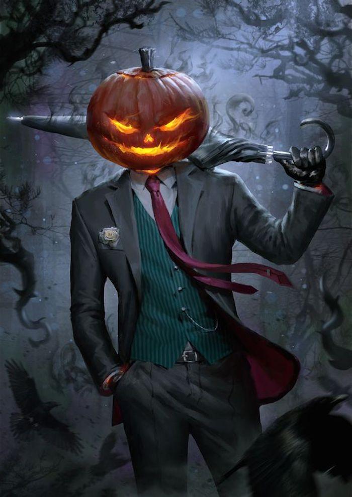 ein Halloween Kürbis aus Kopf von einem Ungeheuer im Kostüm - Halloween Hintergrund