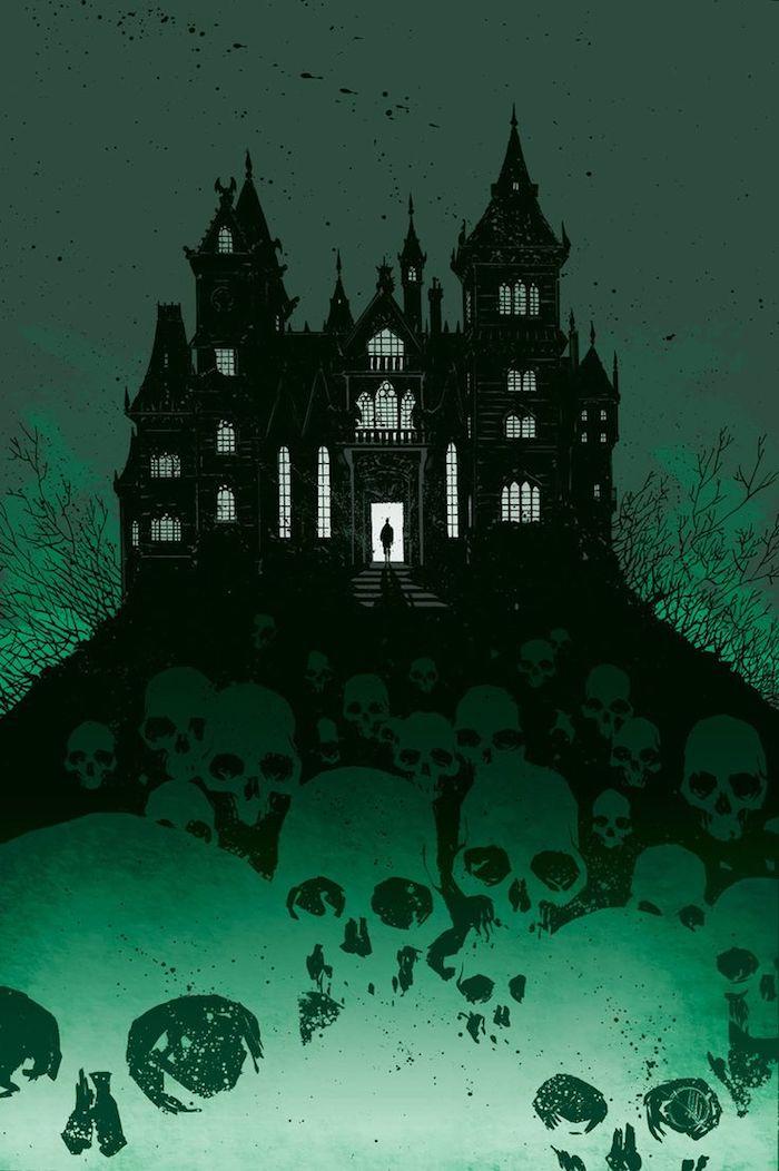 ein Schloss mit gruselige Schädel, die dazu führen - Halloween Hintergrund