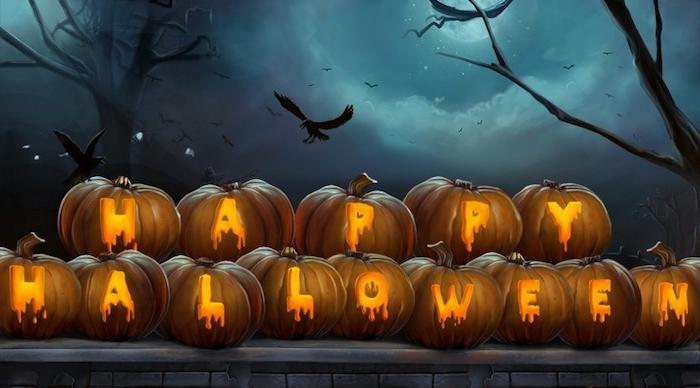Happy Halloween Bilder - Aufschrift auf dem Halloween Kürbisse geschnitzt