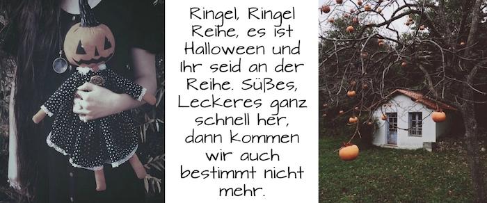 coole halloween sprüche - hier finden sie zwei tolle halloween bilder mit einer puppe, einem kleinen weißen haus und kürbissen