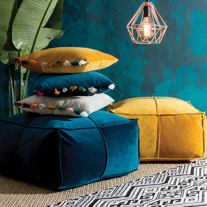 pouf füllung kissen lampe designer idee ausführung bunte deko ideen blau gelb