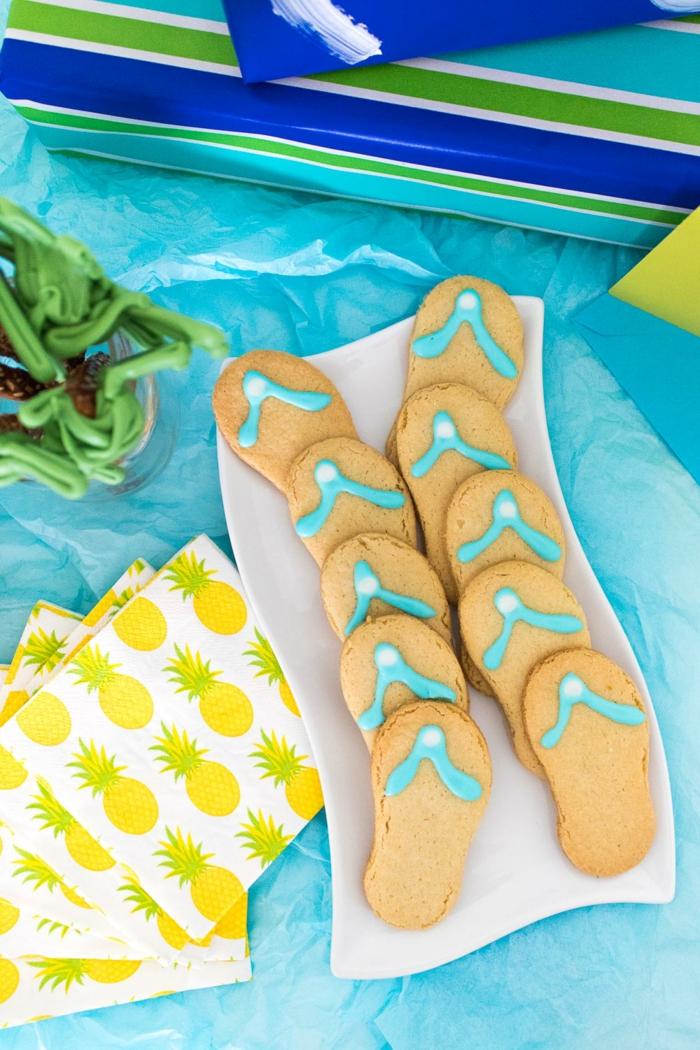 Kekse- Flipflops, kreative Ideen für Partygerichte, eine Sommerparty organisieren, Das Auge isst mit!