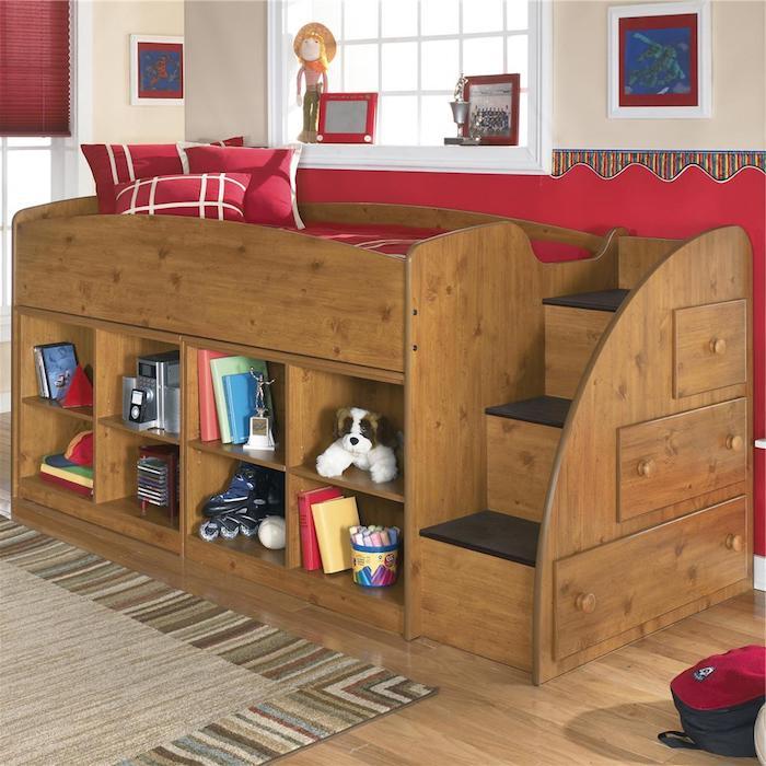 holzerne Hochbett für Kinder, Hochbett mit Treppen, Regale und Schubladen