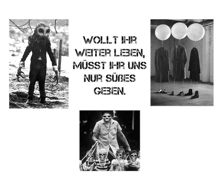 hier finden sie drei tolle bilder mit monstern und menschen mit halloween kostümen und einem kurzen halloween spruch