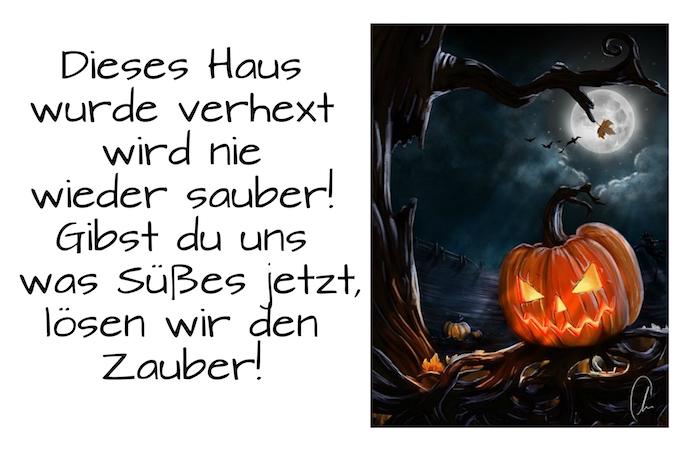 noch ein schönes bild mit einem halloween kürbis, einem mond, einem schwarzen baum und einem kurzen tollen spruch zum thema halloween