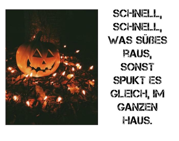 hier finden sie ein bild mit einem halloween kürbis und einem tollen spruch zum thema halloween - halloween sprüche lustig