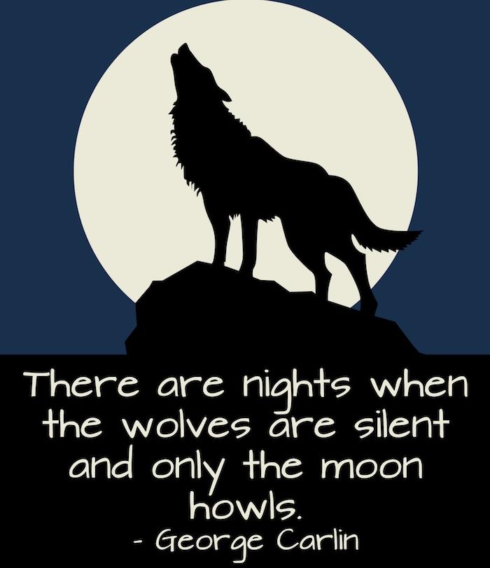 schönes bild mit einem kurzen halloween spruch, einem schwarzen heulenden wolf und einem großen mond