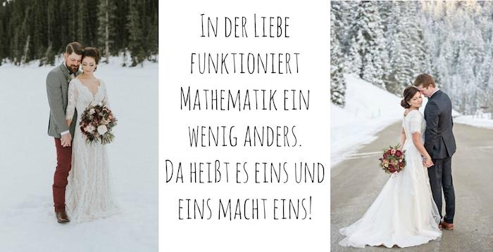 zum thema hochzeitssprüche - hier sind zwei schöne bilder mit schnee, brautpaaren, blumen, wald und frauen mit weißen brautkleidern