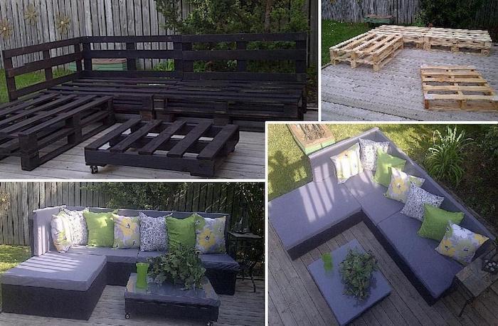 verschiedene ideen zum thema gartenmöbel aus paletten - lila sofas und tische mit grünen kissen, die aus paletten gebaut sind