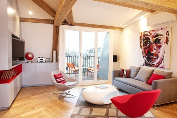 kleine wohnung einrichten grau und rot kombinieren kontraste zu hause moderne wohnung