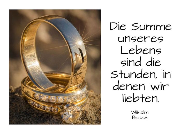 hier finden sie zwei goldene ringe, sinne und ein brautpaar und einen tollen hochzeitsspruch