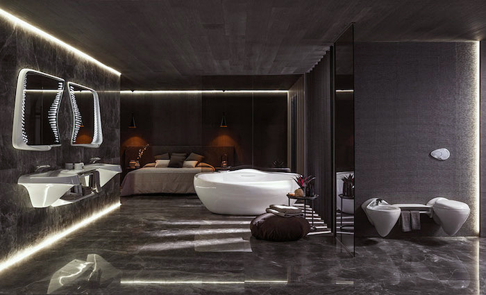 moderne badezimmer, schwarze marmorfliesen, runde freistehende badewanne
