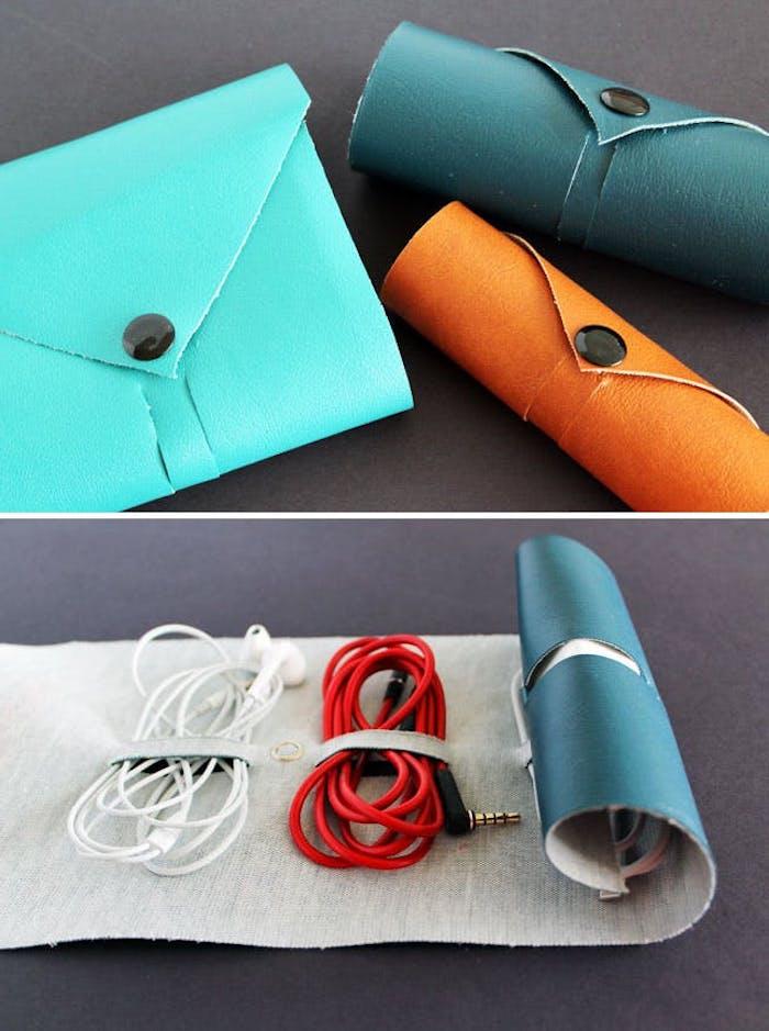 geschenke selber machen, geschenk für mann, tasche für handyhörer