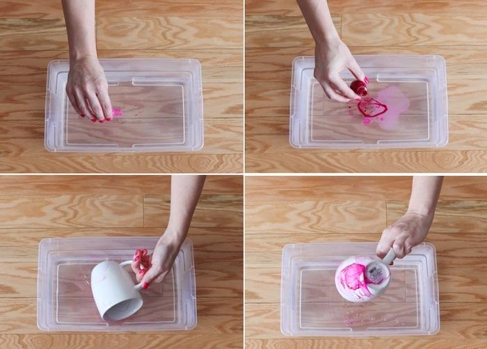 weihnachtsgeschenke selber machen, tasse mit nagellack verzieren, marmor-tassen