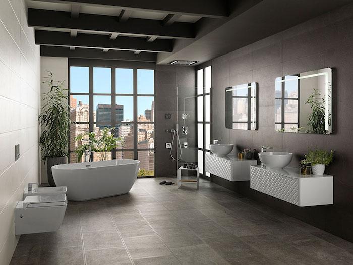 badezimmer deko, badezimmertrends 2018, graue keramikfliesen in kombination mit weißen badezimmermöbeln