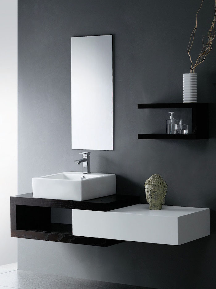 moderne badezimmer in grau, eckiger waschbecken, bad dekorieren