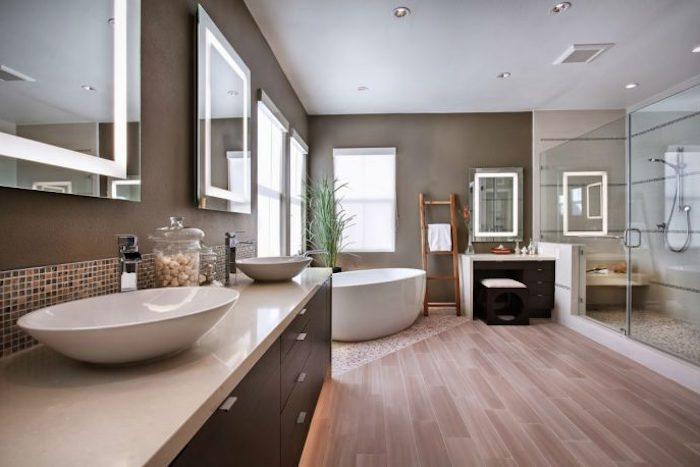 badezimmer deko, große duschkabine as glas, runde waschbecken mit unterschränken