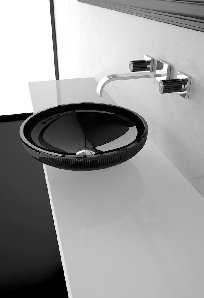 moderne bäder, rundes schwarzes waschbecken, badezimmermöbel in minimalistischem design