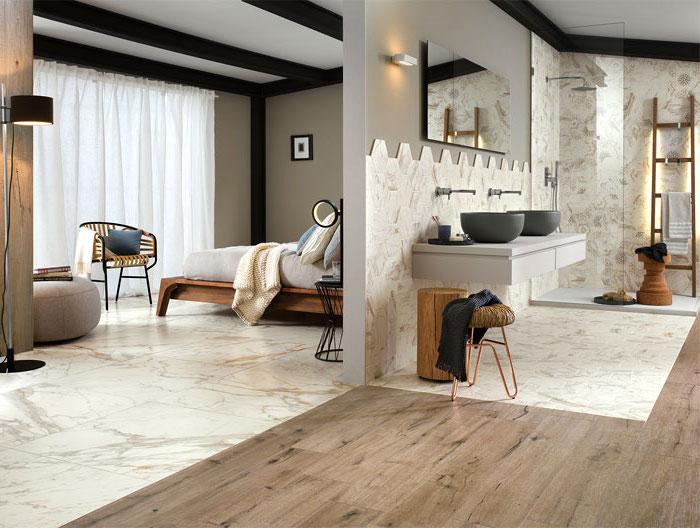 badezimmer deko, bad mit marmorfliesen und parkett, landhausstil