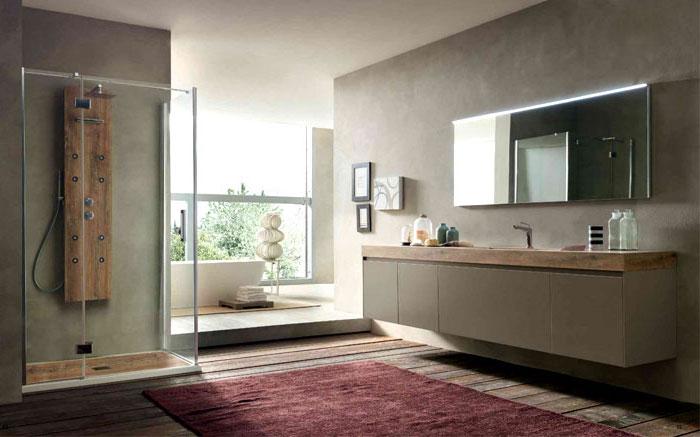 bad einrichten, badezimmer in grau mit holzelementen und duschkabinne aus glas