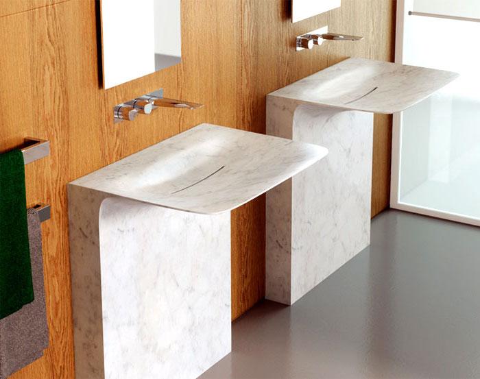 bad einrichten, waschbecken aus marmor mit modernem design, badezimmermöbel