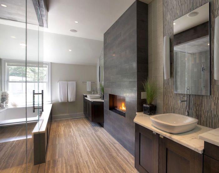 bad einrichten, badezimmer in naturfarben, große duschkabine aus glas
