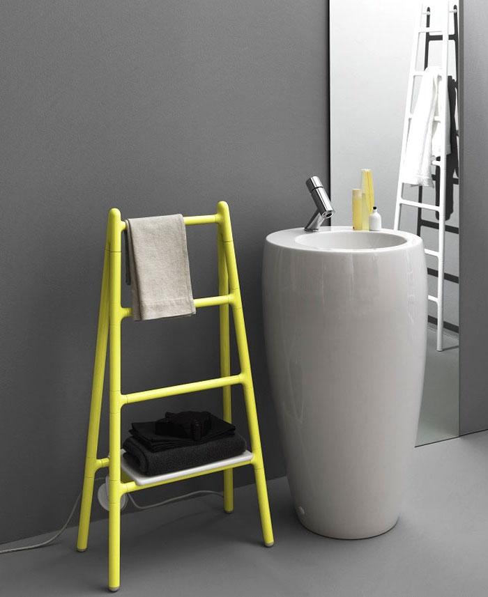 bäder ideen, graue wände in kombination mit einrichtungelementen in neonfarben