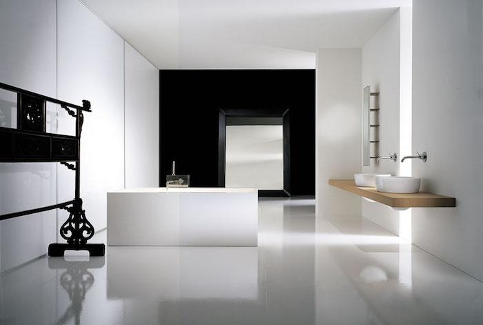 bäder ideen, bad mit minimalistischem design, badezimmer in schwarz und weiß