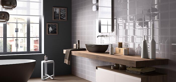 bäderideen, badezimmer in modernem landhausstil mit grauen keramifliesen
