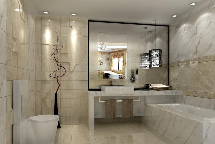 bäderideen, kleines bad mit marmorfliesen, großer eckiger spiegel