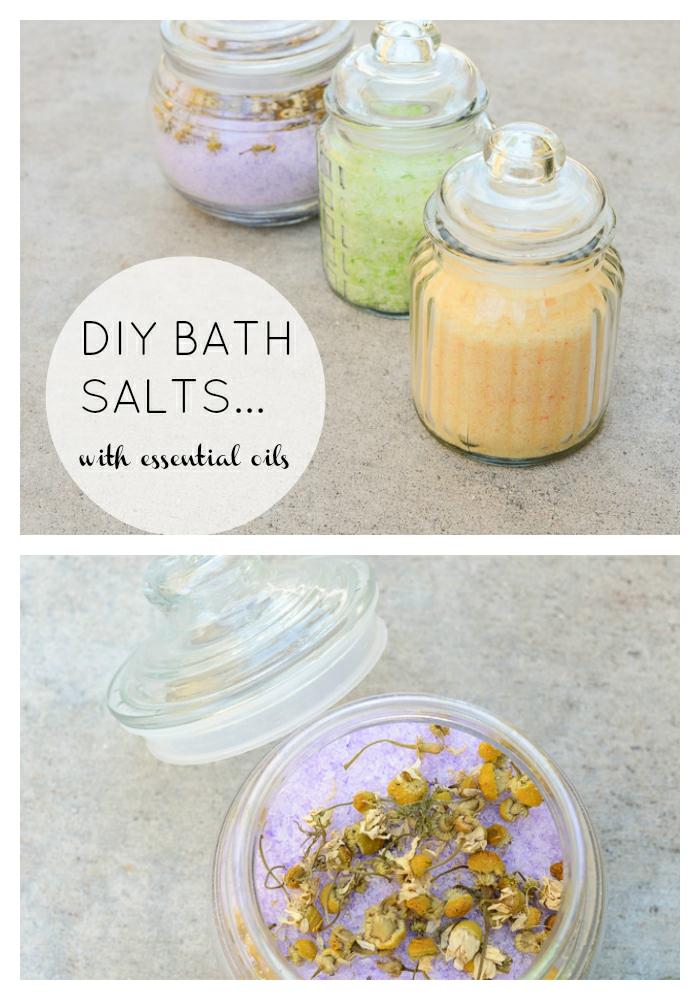 DIY Badesalz mit ätherischen Ölen und Blüten, drei verschieden Farben, in Gläsern, Aromatherapie zu Hause