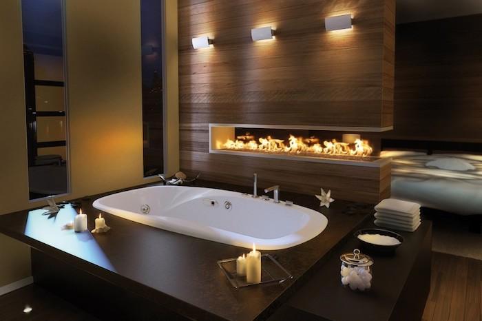 schöne bäder, badezimmer in braun mit tingebauter wanne mit whirpool funktion