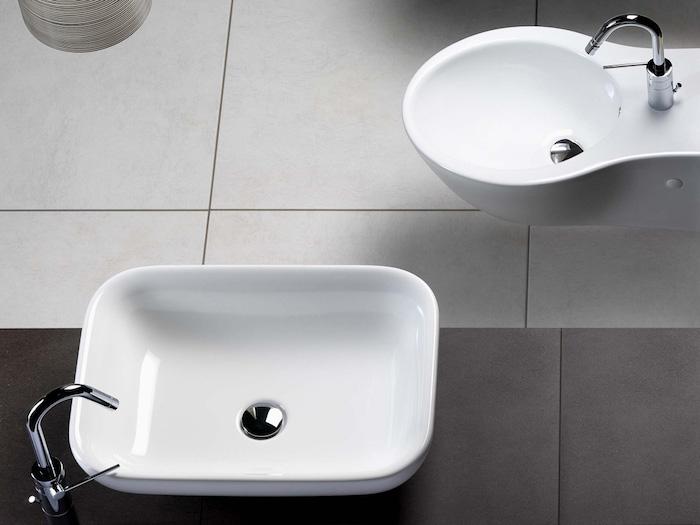 moderne bäder, badezimmermöbel kaufen, ovale weiße waschbecken aus keramik
