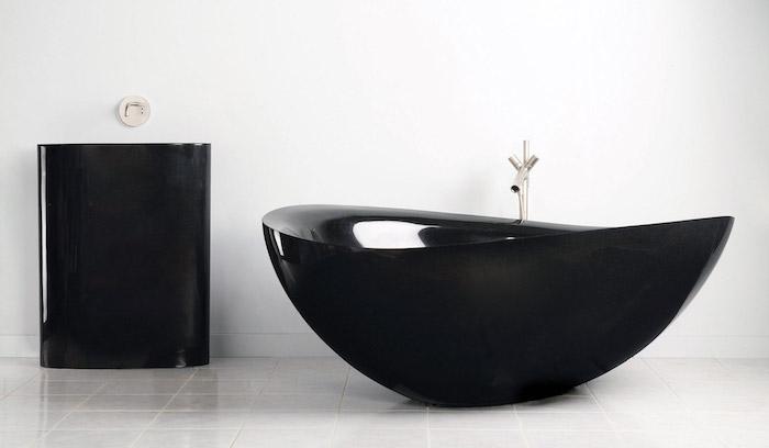 moderne bäder, schwarze badezimmermöbel, designer badewanne mit schwarzem waschbecken