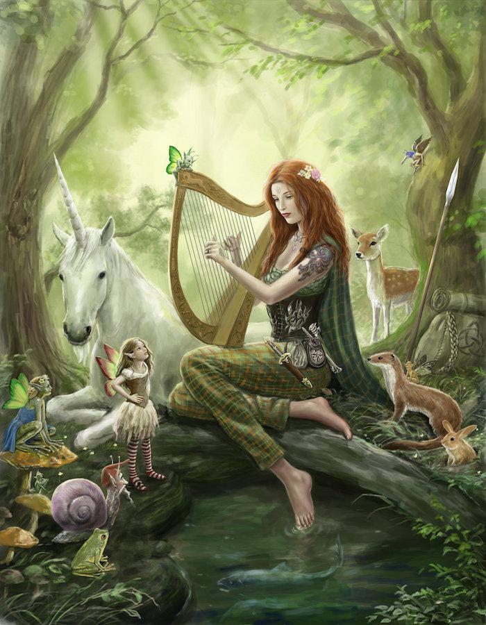 hier ist ein bild mit einer jungen frau mit einem grünen kleid, ein weißes einhorn mit einer dichten langen mähne und einem langen weißen horn, ein wald mit bäumen mit grünen blättern und schmetterlingen und kleinen orangen hasen