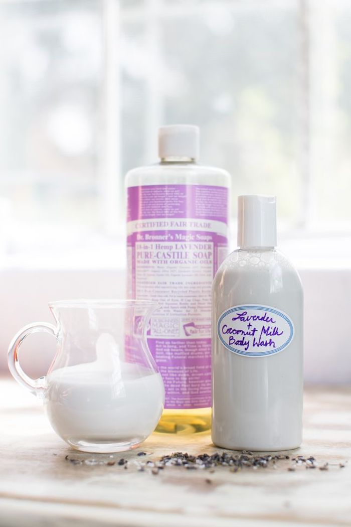 naturkosmetik selber machen, duschgel mit lavendelöl und kokosmilch
